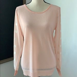Miracle peach sweater with sheer polka dot sleeves